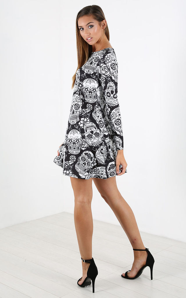 Long Sleeve Mini Dress with Black/White Skull Print by Oops Fashion