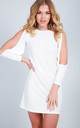 Mini Dress with Long Split Sleeves in Cream by Oops Fashion