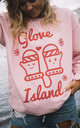 Pink Christmas Sweatshirt with Glove Island Print by Batch1