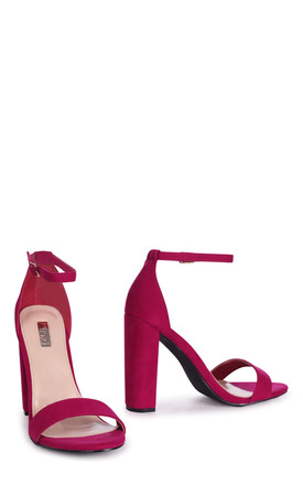 Amy Barely There Block Heels in Purple Suede by Linzi