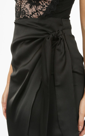 Black Satin Wrap Midi Skirt by Dressed In Lucy
