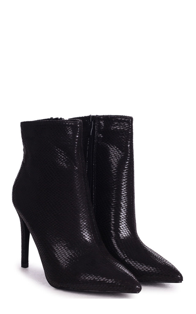 Jasmin Pointed Stiletto Boots in Black Snake Print by Linzi