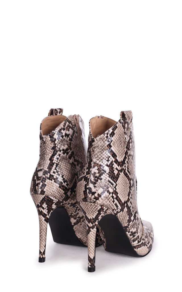 Shania Cowboy Pointed Stiletto Boots in Beige Snake by Linzi