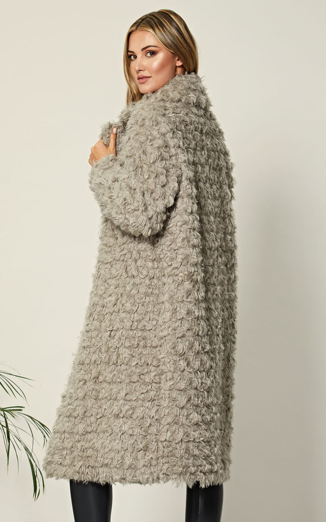 Grey Long Faux Fur Teddy Coat by ANGELEYE