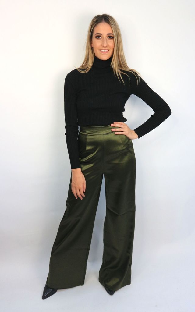 Satin High Waisted Wide Leg Trousers in Khaki by Unscripted