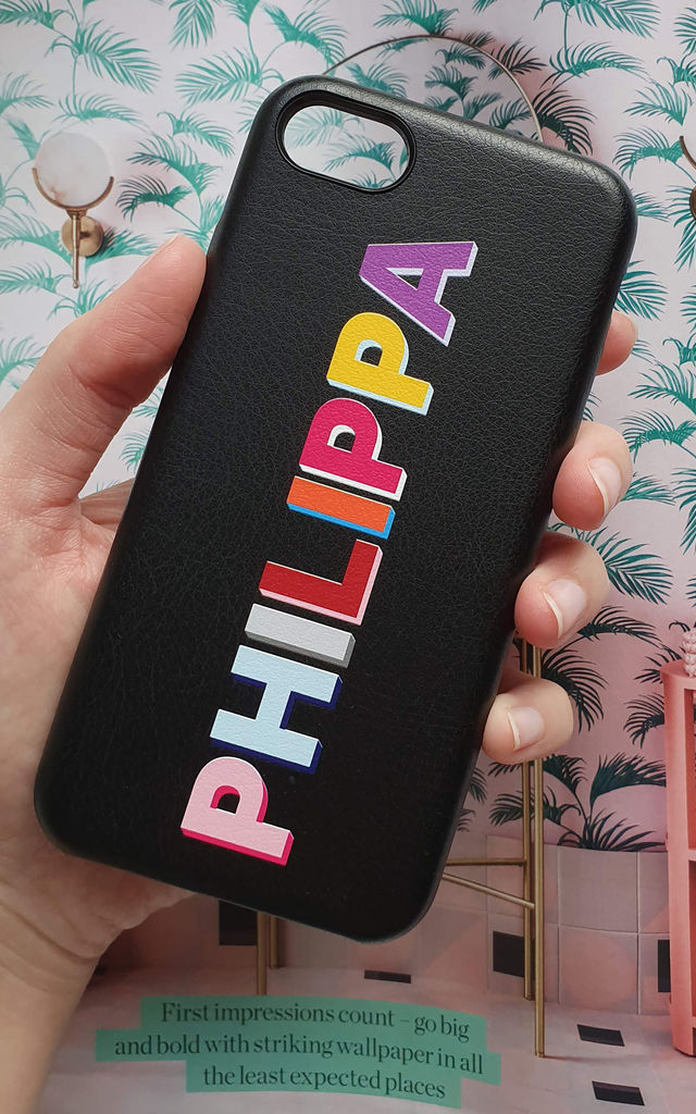 Rainbow Personalised Phone Case in Black Faux Leather by Rianna Phillips