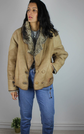 Vintage Leather Jacket With Faux Fur Lining In Brown by Re:dream Vintage Product photo