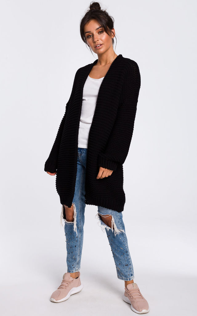 Black Oversized Cardigan with Wide Sleeves by MOE