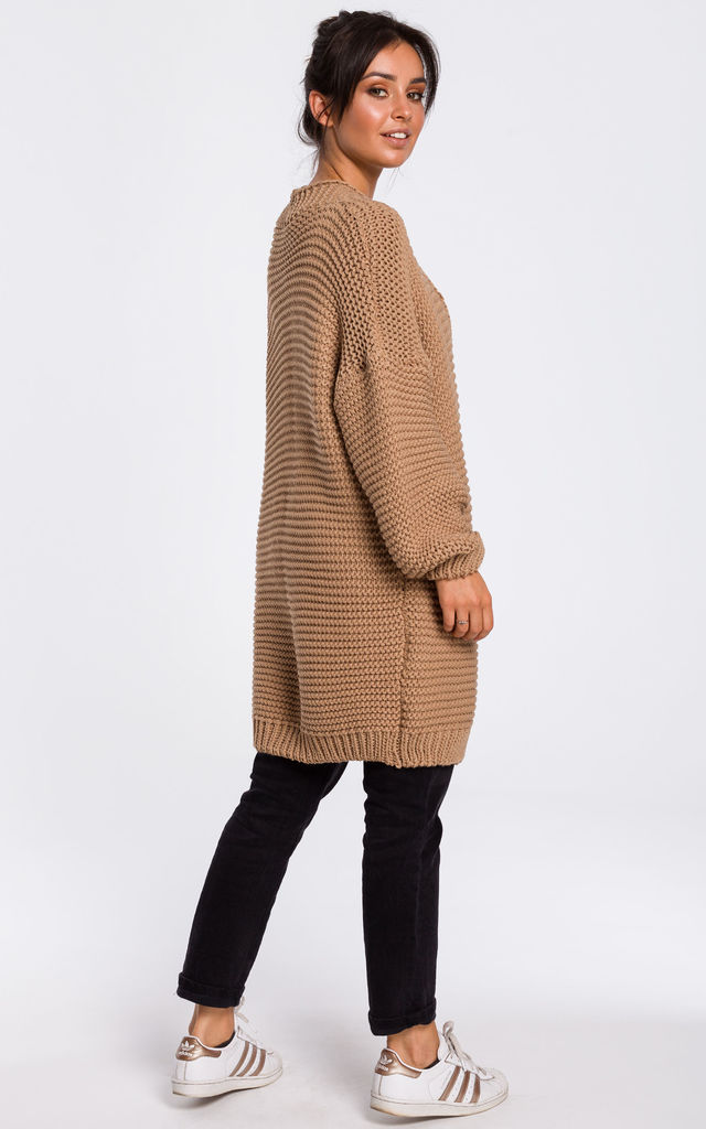 Caramel Brown Oversized Cardigan with Wide Sleeves by MOE