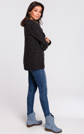 Cable Knit Jumper in Black by MOE