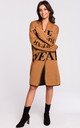 Long Open Front Cardigan with Slogan in Brown by MOE