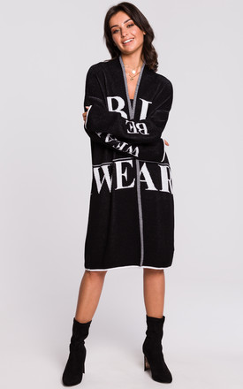 Long Open Front Cardigan with Slogan in Black by MOE