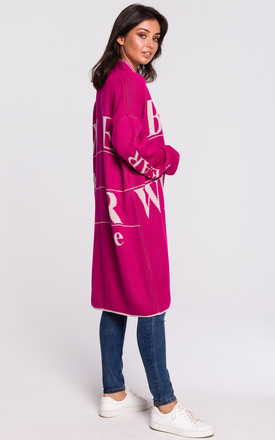Long Open Front Cardigan with Slogan in Pink by MOE