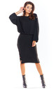 Fitted Knit Midi Skirt in Black by AWAMA