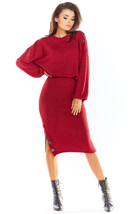 Fitted Knit Midi Skirt in Claret Red by AWAMA