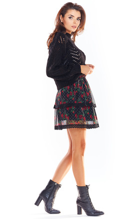 Overlay Mini Skirt in Black Floral Print by AWAMA