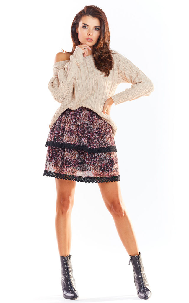 Overlay Mini Skirt in Brown Floral Print by AWAMA