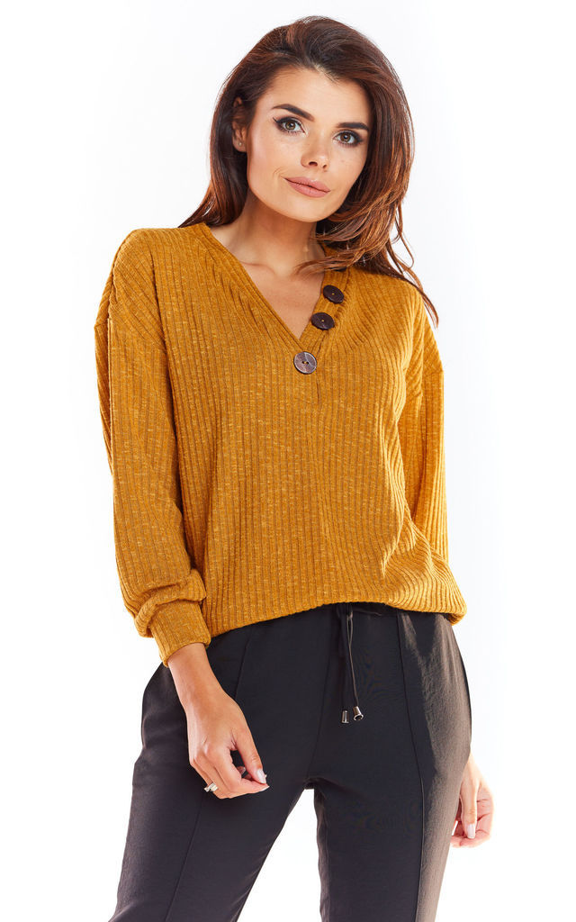Relaxed Fit Jumper with V Neck in Yellow by AWAMA