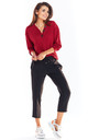 Relaxed Fit Jumper with V Neck in Claret Red by AWAMA