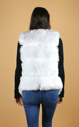 Faux Fox Fur Gilet in Cream by HAUS OF DECK