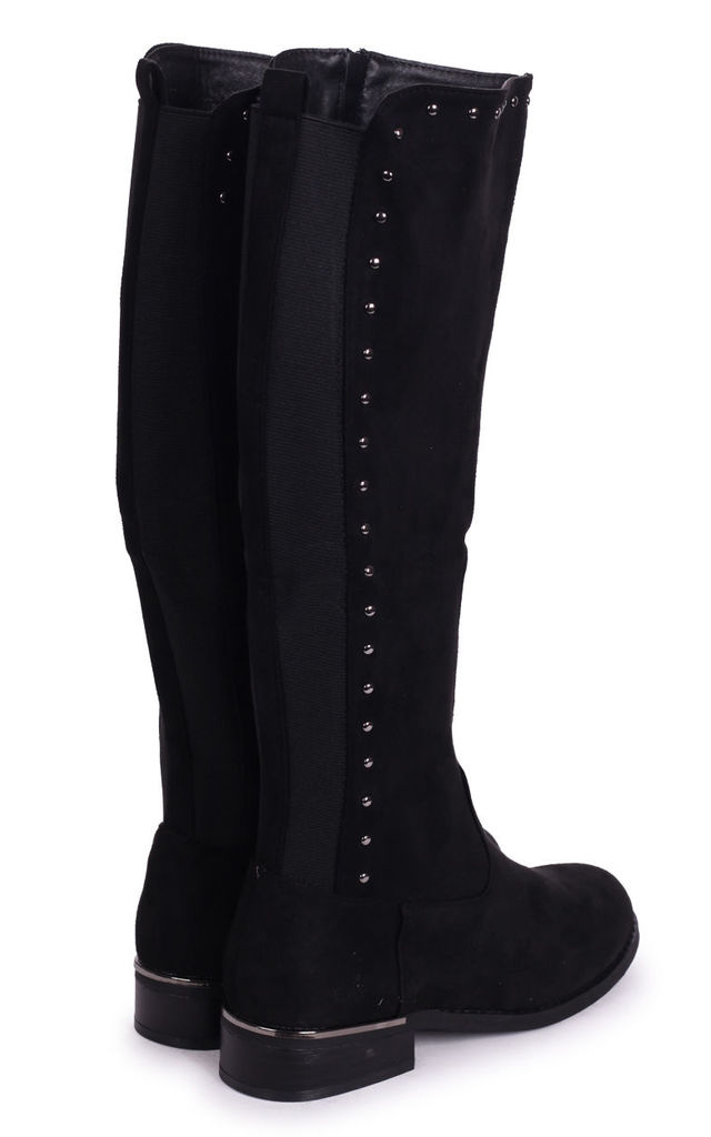 Joan Black Suede Knee High Boot with Stud Detailing by Linzi