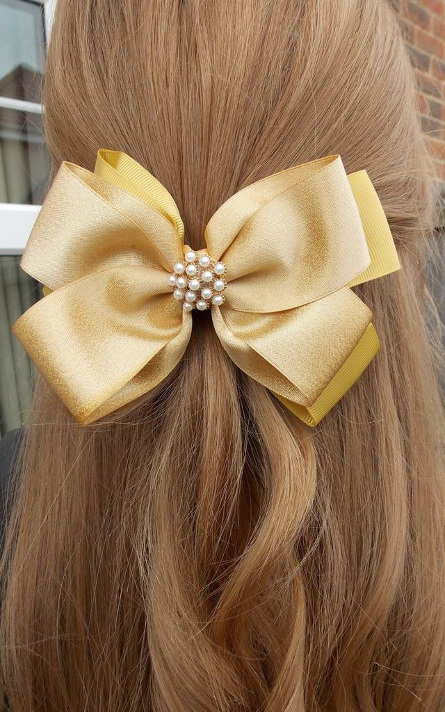 Pearl and Satin Bow Hair Clip in Gold by Olivia Divine Jewellery