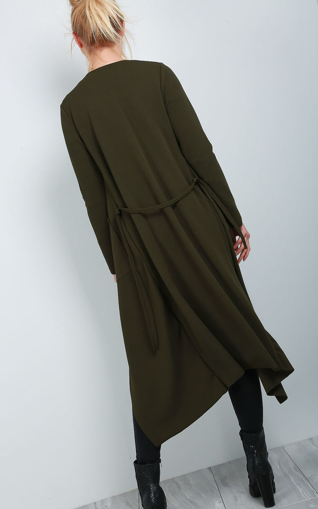 Long Sleeve Belted Waterfall Jacket In Khaki by Oops Fashion
