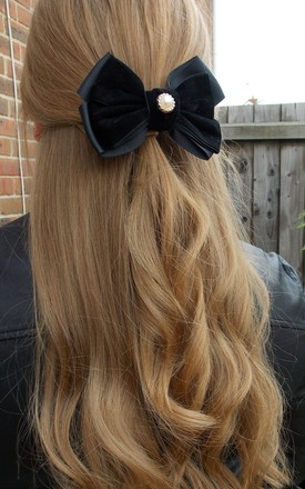 Velvet and Pearl Bow Hair Clip in Black by Olivia Divine Jewellery