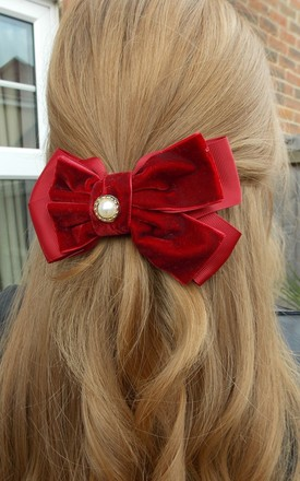 Velvet and Pearl Bow Hair Clip in Deep Red by Olivia Divine Jewellery
