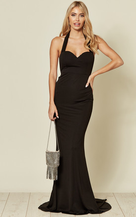 DREAM BACKLESS FISHTAIL MAXI DRESS IN BLACK by Nazz Collection