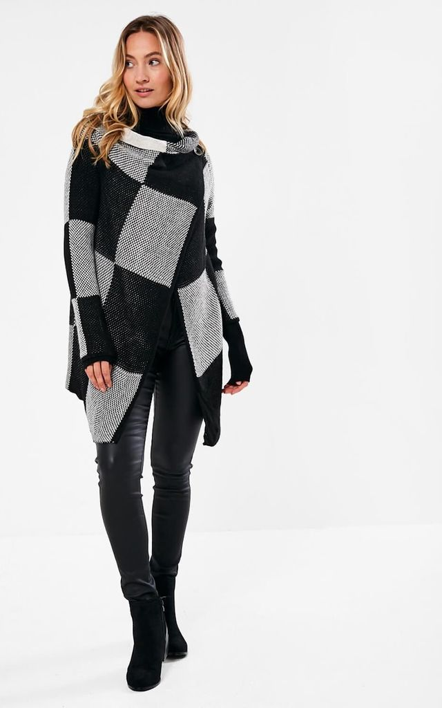 Side Button Cardigan in Black/Grey Block Print by Marc Angelo