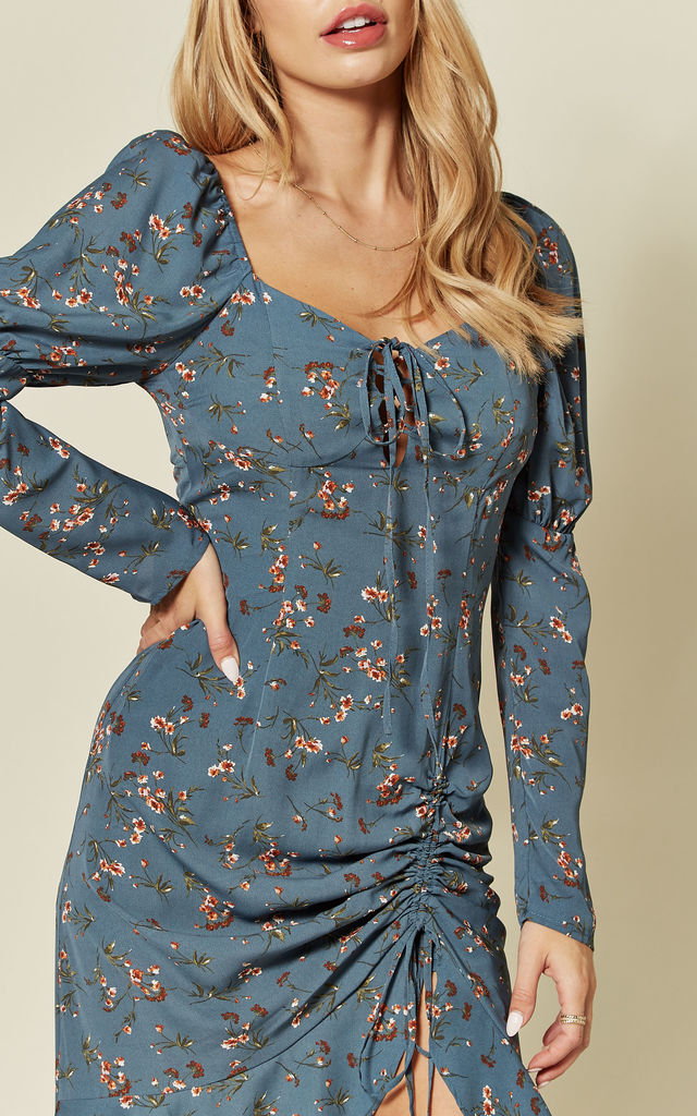 Blue Floral Asymmetric Dress With Puff Sleeves by Pretty Darling