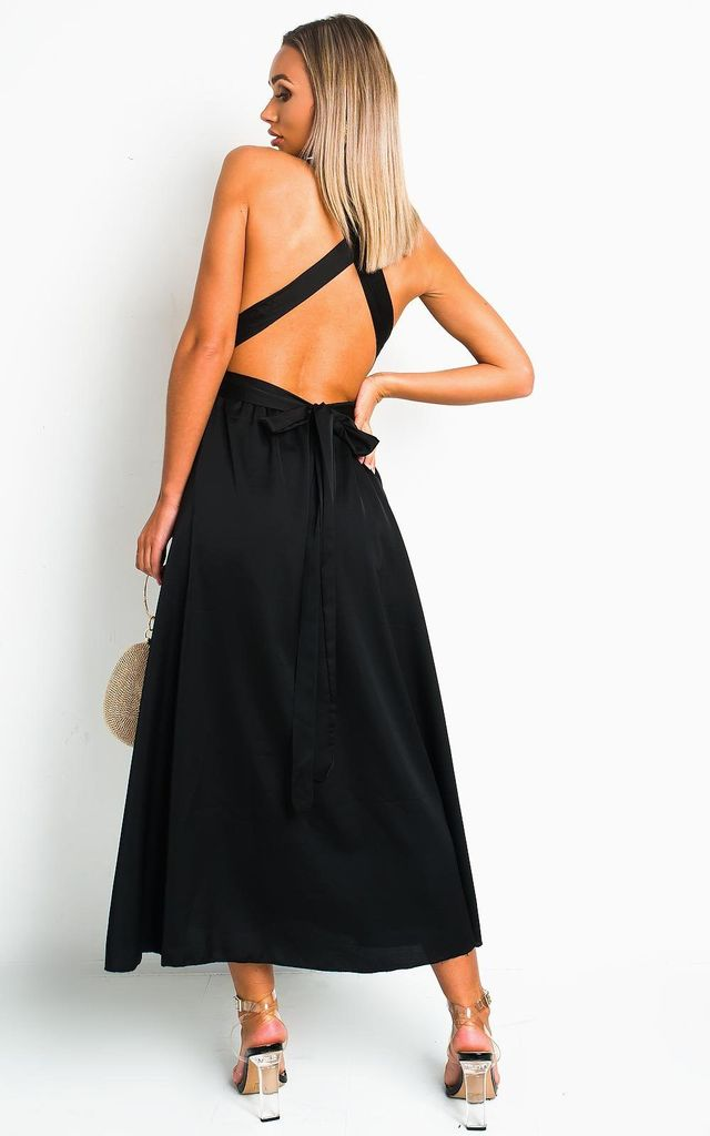 Stephanie Backless Sequin Midi Dress in Black by IKRUSH