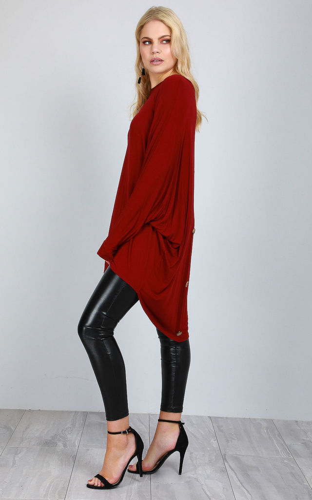Oversized Long Sleeve Top in Wine by Oops Fashion