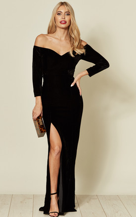Anjelica Off The Shoulder Maxi Dress in Black Velvet by Collectif Clothing