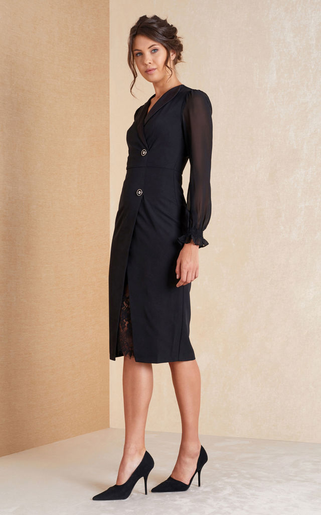 Long Sleeve Fitted Dress with Lace in Black by April & Alex