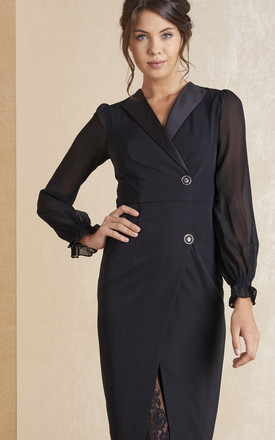 Long Sleeve Fitted Dress With Lace In Black by April & Alex Product photo