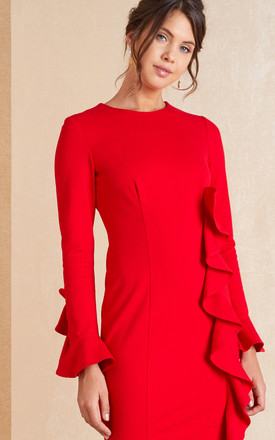 Long Sleeve Mini Dress With Frill In Red by April & Alex Product photo