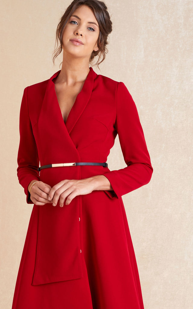 Long Sleeve Midi Skater Dress in Red by April & Alex
