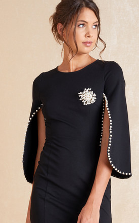 Black Beaded Bodycon Mini Dress With Cape Sleeves by April & Alex Product photo