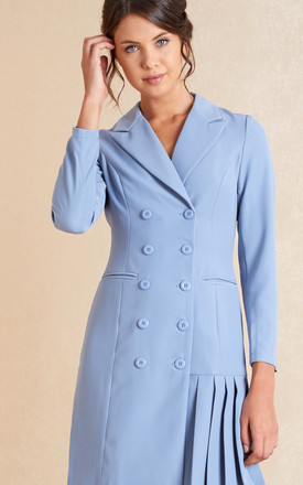 Pleated Blazer Mini Dress In Pale Blue by April & Alex Product photo