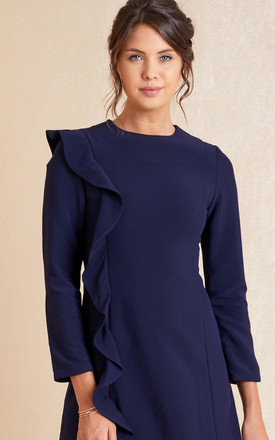 Navy Long Sleeve Skater Mini Dress With Frill by April & Alex Product photo