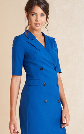 Short Sleeve Blazer Mini Dress In Blue by April & Alex Product photo