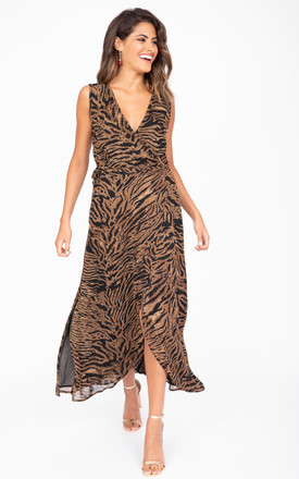 Maxi Wrap Dress With Side Split In Tiger Animal Print by likemary Product photo