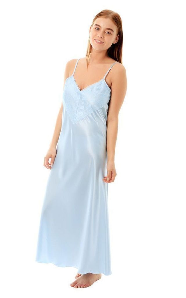 Baby Blue Satin & Lace Maxi Slip Nightdress by BB Lingerie