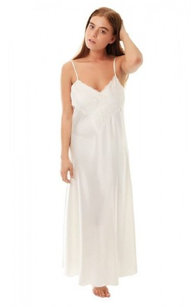 Ivory Satin & Lace Maxi Slip Nightdress by BB Lingerie