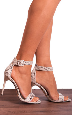 Square Toe Strappy Stiletto Sandals in Nude Snakeskin Print by Shoe Closet