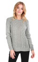 Sally Long Sleeve Cable Knit Jumper in Grey by Oops Fashion