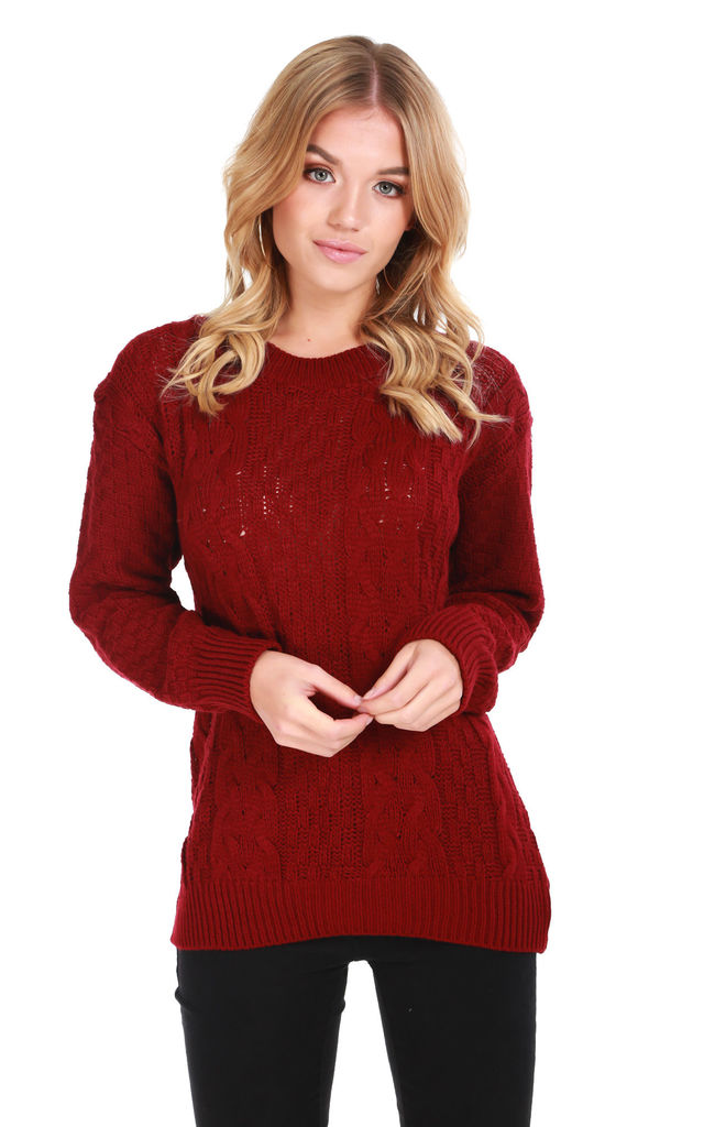 Long Sleeve Cable Knit Jumper in Wine Red by Oops Fashion
