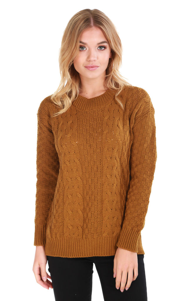 Long Sleeve Cable Knit Jumper in Rust by Oops Fashion
